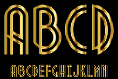 金色光泽字母设计矢量素材