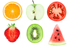 9种水果和蔬菜切片高清图片素材