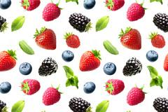 草莓蓝莓树莓无缝背景高清图片