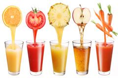 5种水果和蔬菜鲜榨汁高清图片