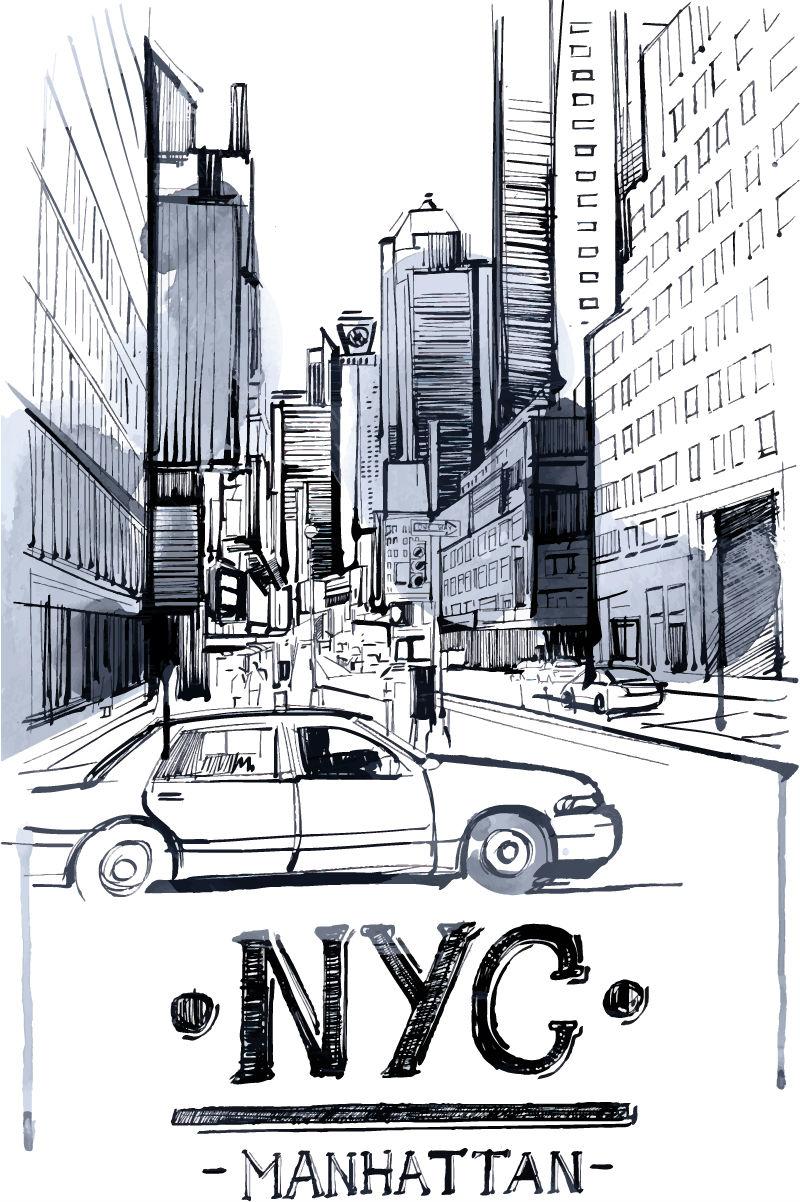 手绘城市街景轮廓图矢量素材图片