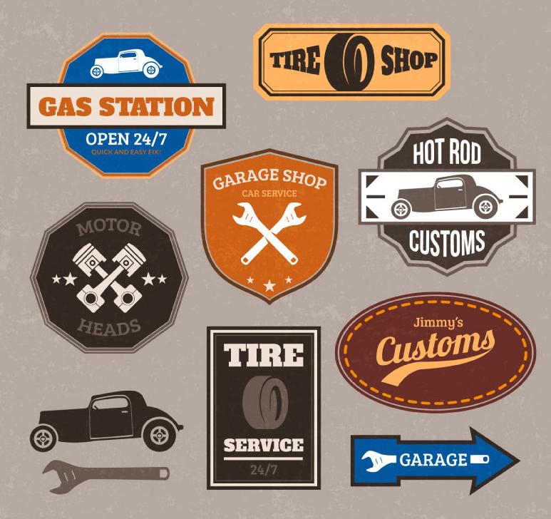 8款汽车维修护理标签矢量素材高清图片