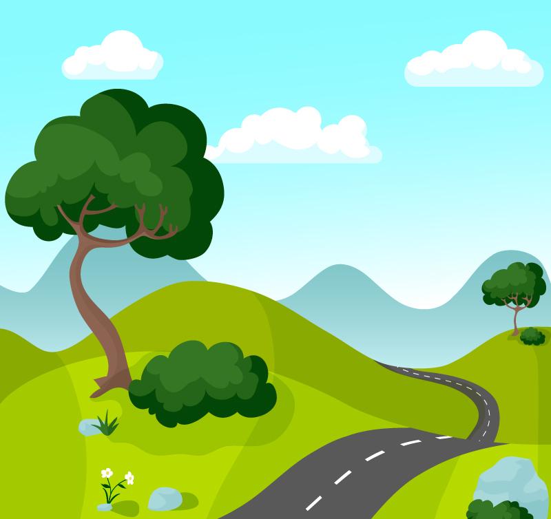 ai格式,含jpg预览图,关键字:树木,山,道路,草地,山坡,风景,石头,云朵