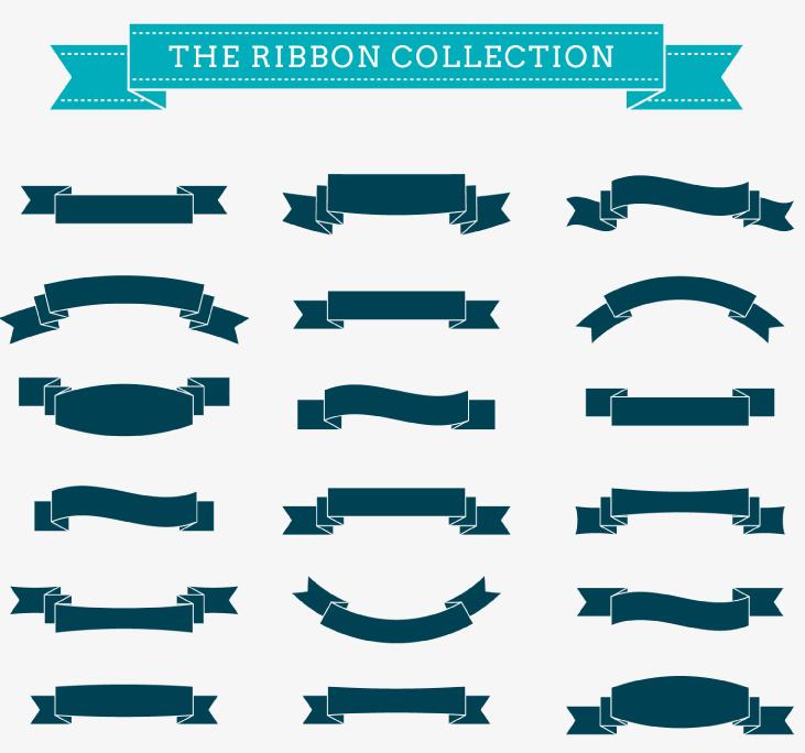 18款丝带条幅设计矢量素材