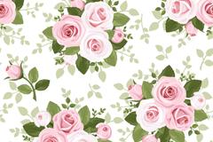 粉色玫瑰花束无缝背景矢量图