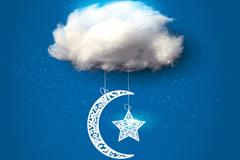 棉花云朵和星月矢量素材