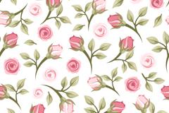 玫瑰花枝无缝背景矢量图