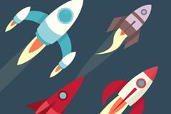 4款卡通飞行火箭矢量素材
