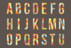 彩色字母艺术字矢量素材