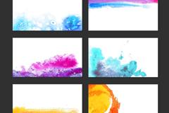 6款水彩墨迹卡片设计矢量图