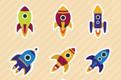 9款卡通火箭贴纸矢量素材