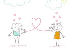 彩绘可爱情侣矢量素材