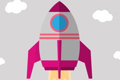 创意升空火箭设计矢量素材