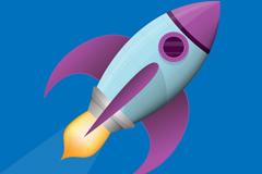 飞速行驶的火箭矢量素材