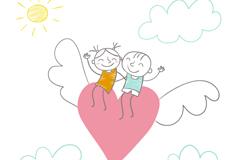 彩绘爱心上的情侣矢量素材