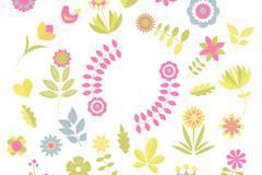 缤纷彩色花朵矢量素材