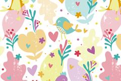 卡通花朵与鸟无缝背景矢量图