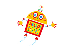 打招呼的机器人矢量素材