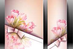 2款郁金香装饰丝带卡片矢量图