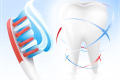 牙齿与牙刷设计矢量素材