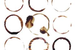 9款咖啡渍圆环设计矢量素材
