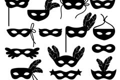 18款面具剪影设计矢量素材
