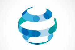 蓝色环形球体标志矢量素材