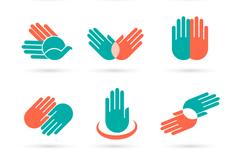9款彩色手势标志矢量素材