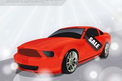 时尚红色轿车销售海报矢量图