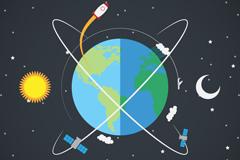 环绕地球的卫星插画矢量图