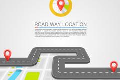 道路上的导航定位插画矢量素材