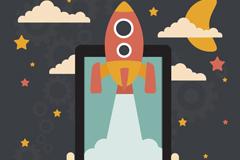 飞出屏幕的火箭插画矢量图