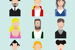 9款卡通人物半身像矢量素材图片