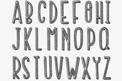 手绘字母与数字设计矢量素材