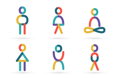 9款彩色瑜伽人物标志矢量素材