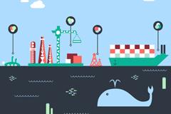 创意海洋开发插画矢量素材