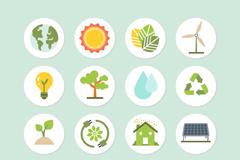 16款绿色生态环保图标矢量素材