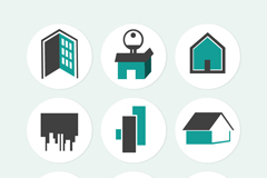 9款创意房屋贴纸图标矢量图