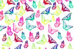 彩绘蝴蝶无缝背景矢量图