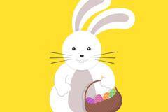 复活节挎篮子的兔子设计矢量素材