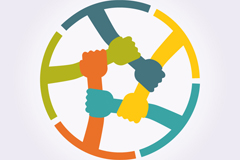 彩色手臂组合圆环标志矢量素材