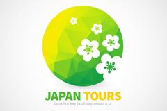 日本樱花旅行标志矢量素材