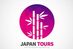 日本竹林旅行标志矢量素材