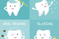 4款卡通牙齿护理矢量素材