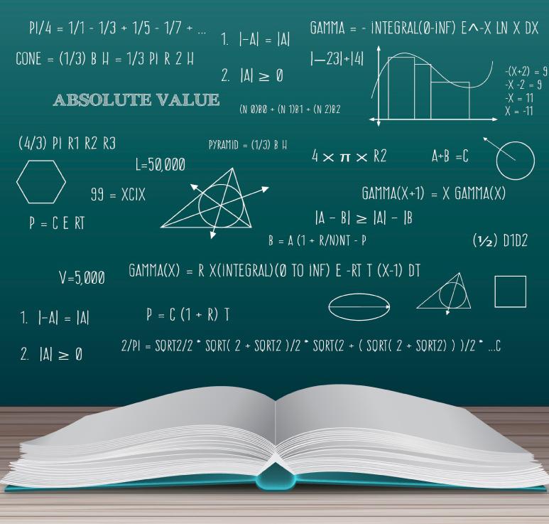摊开的书本和数学公式矢量图图片