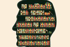 创意大脑里的书架矢量素材
