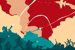 战争场面和士兵插画矢量素材