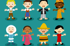 8款世界儿童设计矢量素材