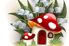 卡通铃铛花下的蘑菇屋矢量素材