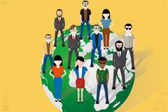 创意商务团队插画矢量素材图片